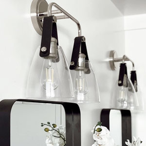 Clear glass vanity light with leather straps