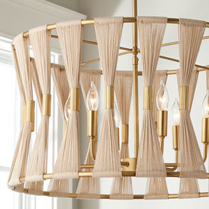 Brass and natural ivory rope drum shade chandelier