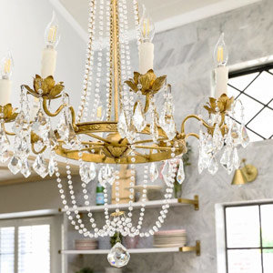 Gold chandelier with crystals and beads
